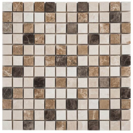 """Faber Spanish Blend 1""""x1"""" Marble Mesh-Mounted Mosaic in Multi"""