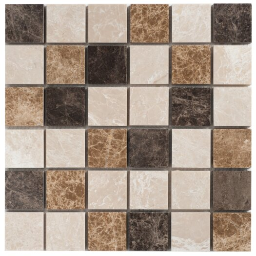 "Faber Spanish Blend 2"" x 2"" Marble Mesh-Mounted Mosaic in Multi"