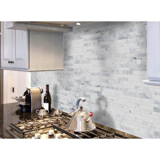 Faber Carrara Extra Random Strip Sized Marble Polished Mosaic in White