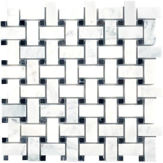 Faber Carrara Extra Basketweave Random Sized Marble Polished Mosaic in White
