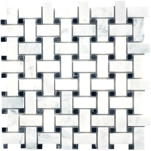 Faber Carrara Extra Random Sized Marble Mosaic Basketweave Polished Tile in White