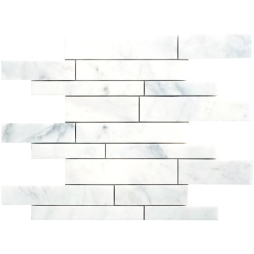 Faber Carrara Extra Random Sized Marble Mosaic Strip Polished Tile in White