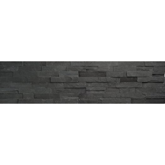 Faber Coal Ledge Stone Split Face Random Sized Wall Cladding Mosaic in Black