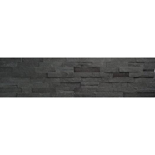 Faber Coal Ledge Stone Split Face Random Sized Wall Cladding Mosaic in Black