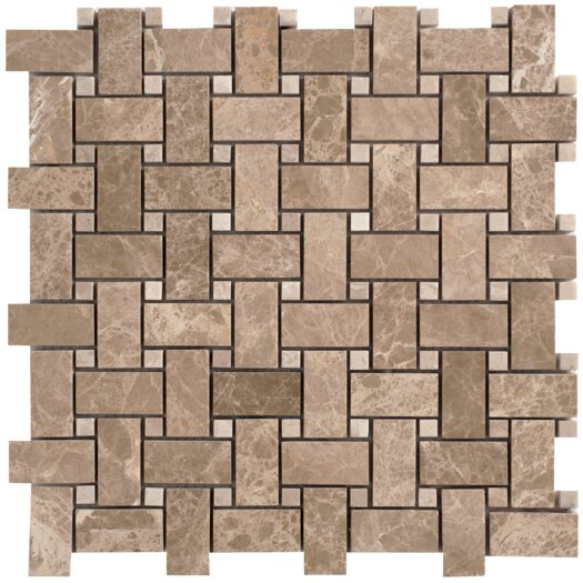 Faber Emperador Basketweave Random Sized Light Marble Polished Mosaic in Beige and Brown