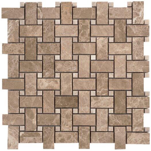 Faber Emperador Random Sized Light Marble Mosaic Basketweave Polished Tile in Beige and Brown