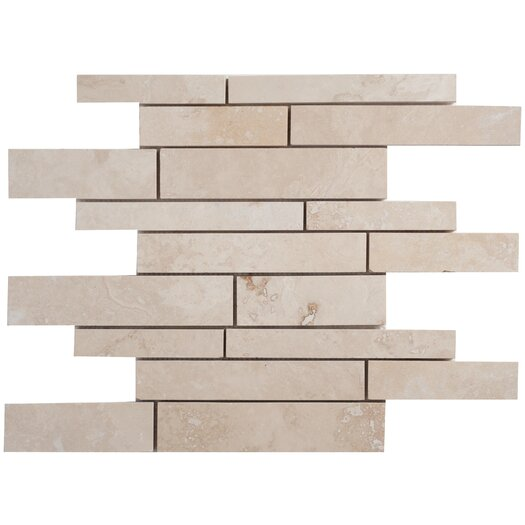 Faber Light Ivory Random Strip Sized Travertine Filled and Honed Mosaic