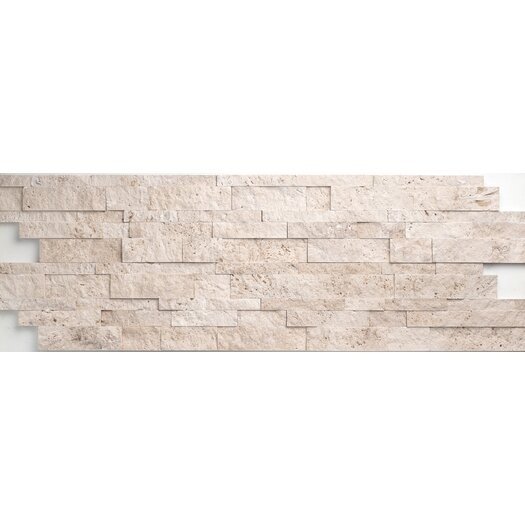 Faber Travertine Split Face Random Sized Wall Cladding Mosaic in Light Ivory