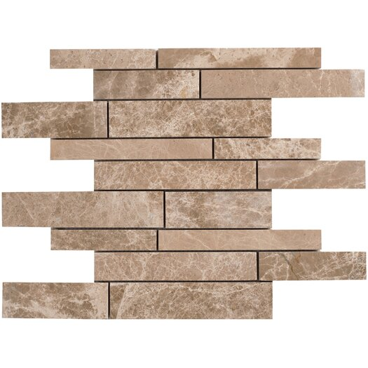 Faber Emperador Random Strip Sized Light Marble Polished Mosaic in Beige and Brown