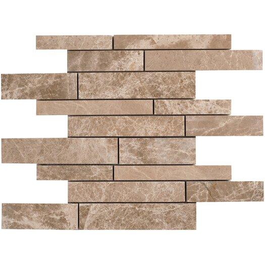 Faber Emperador Random Sized Light Marble Mosaic Strip Polished Tile in Beige and Brown