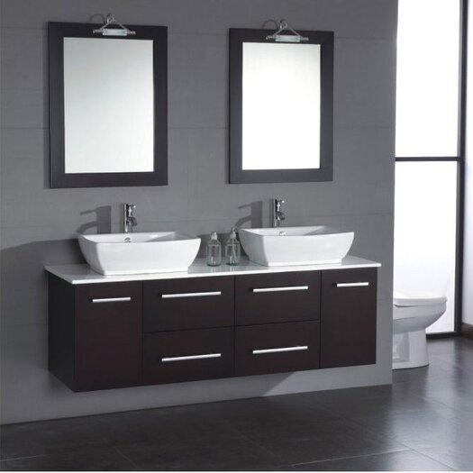 """Cambridge Plumbing Poplar 62"""" Wall Mount Double Bathroom Vanity Set"""