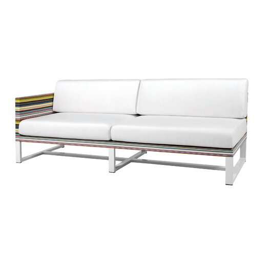Mamagreen Stripe Aluminum / Mesh Right Sectional with Cushion