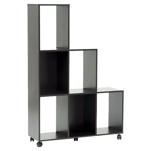 Wholesale Interiors Baxton Studio Hexham Rolling Display Shelving Unit and Room Divider in Brown