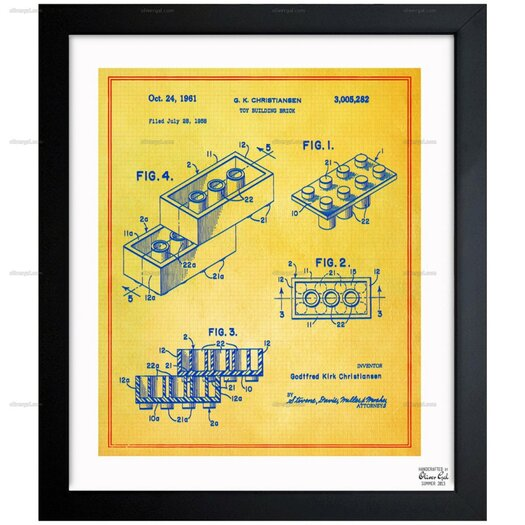 Lego Toy Building Brick 1961 Framed Painting Print on Wrapped Canvas