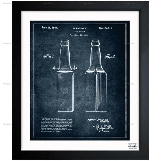 Design for a Beer Bottle 1934 Framed Painting Print on Wrapped Canvas