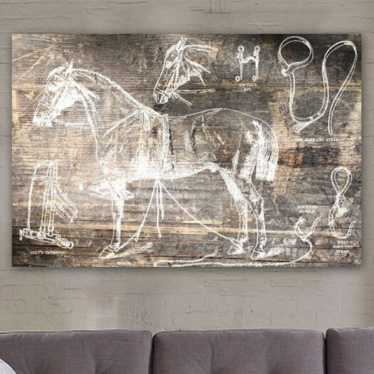 Oliver Gal Horse Breaking Guide Graphic Canvas Art