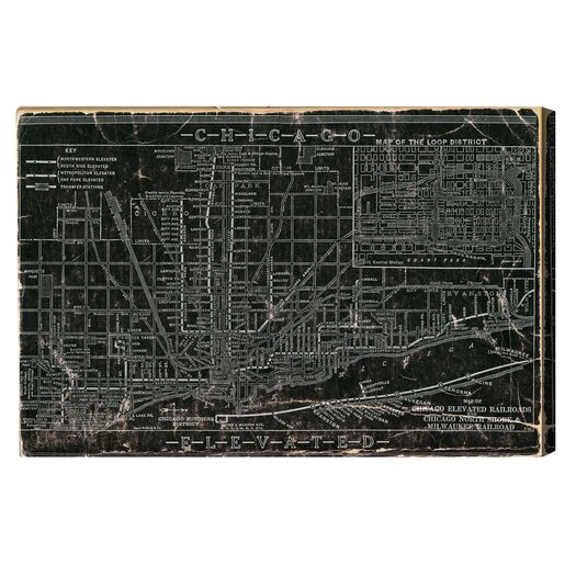Oliver Gal Chicago Railroad Graphic Canvas Art