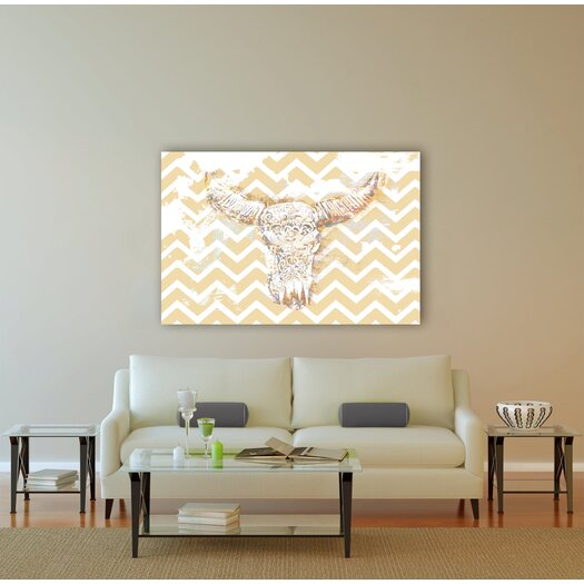 Oliver Gal 'Chevron Skull' Graphic Art on Canvas