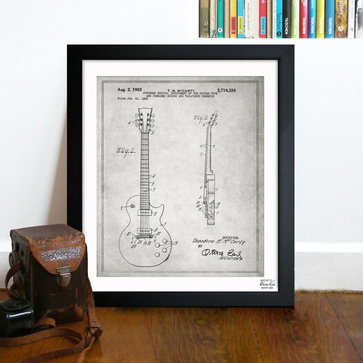 Oliver Gal Gibson Les Paul Guitar 1955 Framed Graphic Art