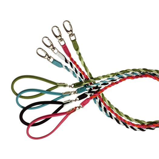 PetEgo Fashion Two Color Twisted Tubular Leather Dog Leash
