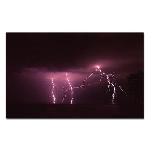 "Trademark Fine Art ""Lake Lightning"" by Kurt Shaffer Photographic Print on Canvas"