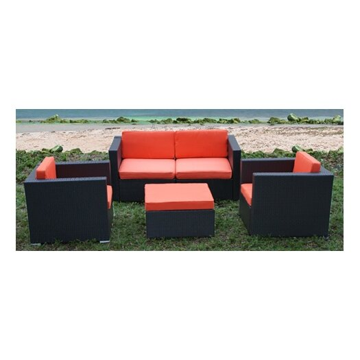 International Home Miami St.Tropez 5 Piece Deep Seating Group with Cushions