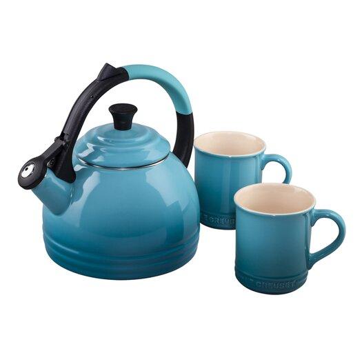 Le Creuset Enamel On Steel 1.7 Qt. Peruh Tea Kettle Set