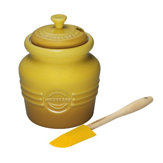 Le Creuset Stoneware 20 Oz Mustard Jar with Silicone Spreader