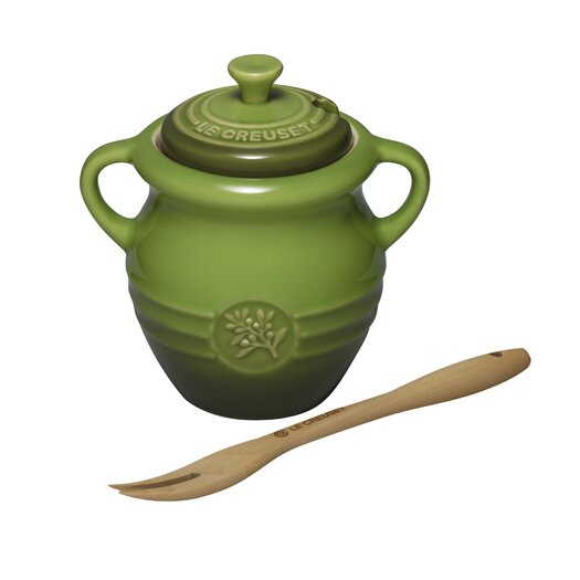 Le Creuset Stoneware 12 Oz Olive Jar with Fork