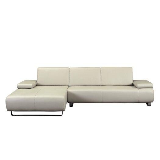 Whiteline Imports Emotion Left Leather Chaise Sectional