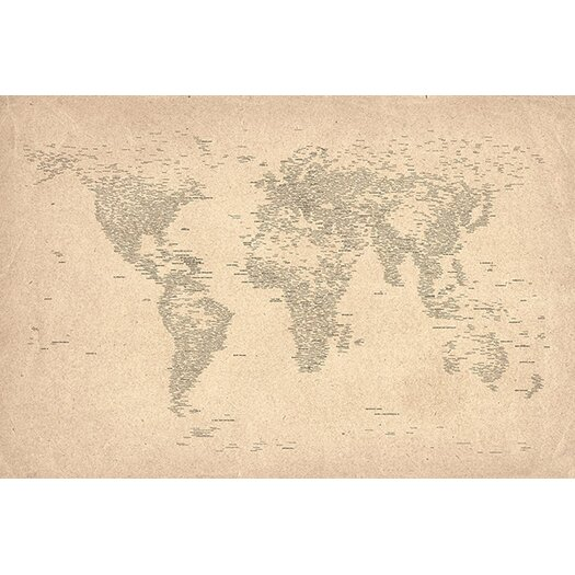 iCanvasArt 'World Map of Cities II' by Michael Tompsett Graphic Art on Canvas