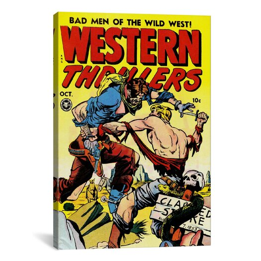 iCanvas Bad Man of The Wild West (Western Thrillers - Comic Books) Vintage Advertisement on Canvas