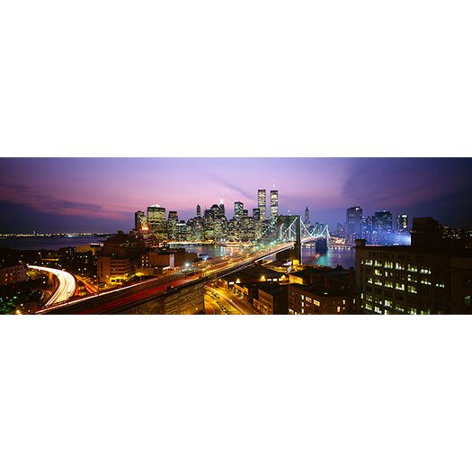 iCanvas Panoramic Buildings Lit up at Night World Trade Center New York Photographic Print on Canvas