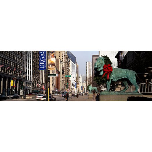 iCanvas Panoramic Bronze Lion Statue in Art Institute of Chicago, Illinois Photographic Print on Canvas