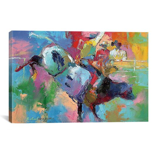 iCanvasArt 'Bull Riding' by Richard Wallich Painting Print on Canvas