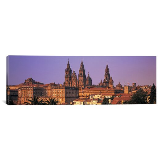 iCanvas Panoramic Cathedral in a Cityscape, Santiago De Compostela, La Coruna, Galicia, Spain Photographic Print on Canvas