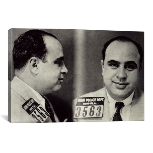 iCanvas Alphonse Gabriel Al Capone Mugshot - Chicago Gangster Outlaw Painting Print on Canvas