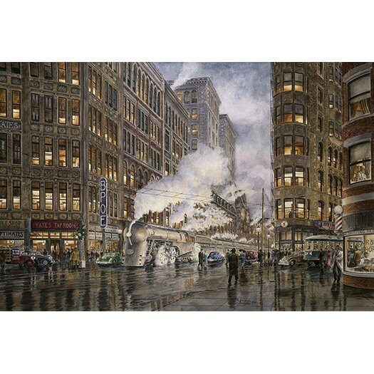 iCanvasArt '20Th Century Ltd at Syracuse New York, Washington and Wharf Sts, California 1936' by Stanton Manolakas Painting Print on Canvas