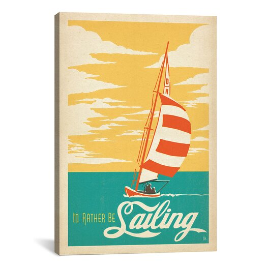 iCanvasArt I'd Rather Be Sailing by Anderson Design Group Vintage Advertisement on Canvas