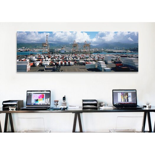 iCanvas Panoramic Containers and Cranes at a Harbor, Honolulu Harbor, Hawaii Photographic Print on Canvas
