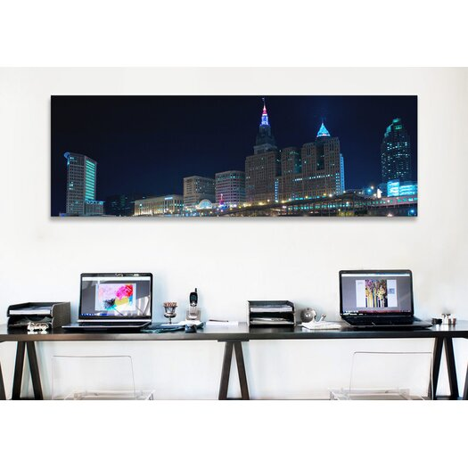 iCanvas Panoramic Cleveland Skyline Cityscape (Night) Photographic Print on Canvas