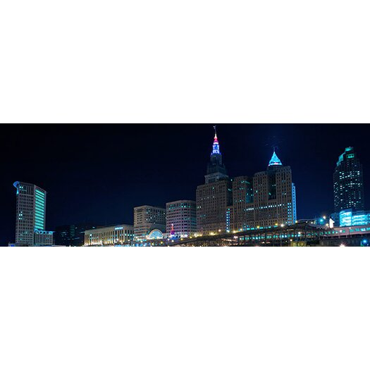 iCanvasArt Panoramic Cleveland Skyline Cityscape (Night) Photographic Print on Canvas