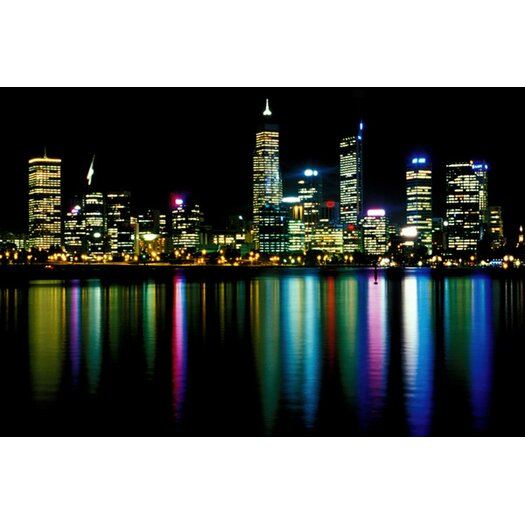 iCanvasArt Downtown City Lights Photographic Print on Canvas