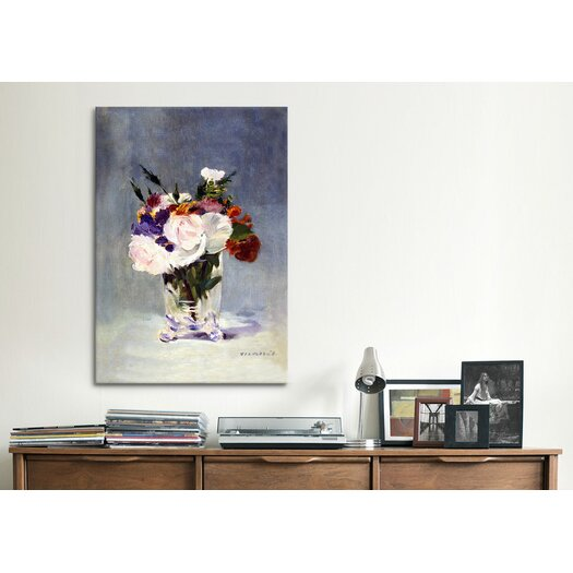 iCanvas 'Flowers in a Crystal Vase' by Edouard Manet Painting Print on Canvas