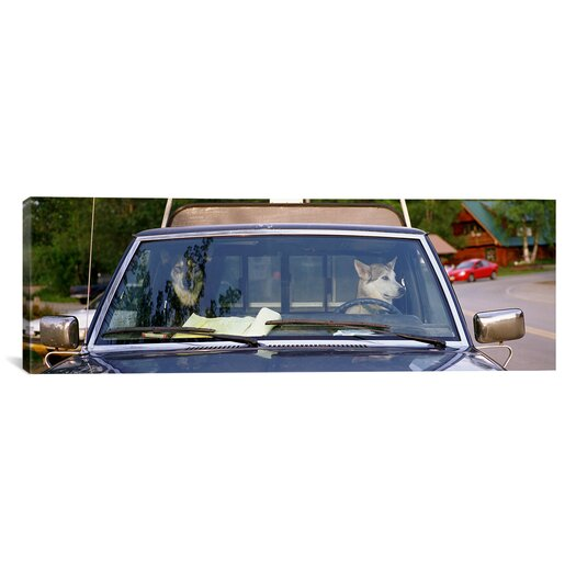 iCanvas Panoramic Close-up of Two Dogs in a Pick-up Truck, Main Street, Talkeetna, Alaska Photographic Print on Canvas