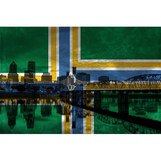 iCanvasArt Portland Flag, City Skyline Painting Print on Canvas