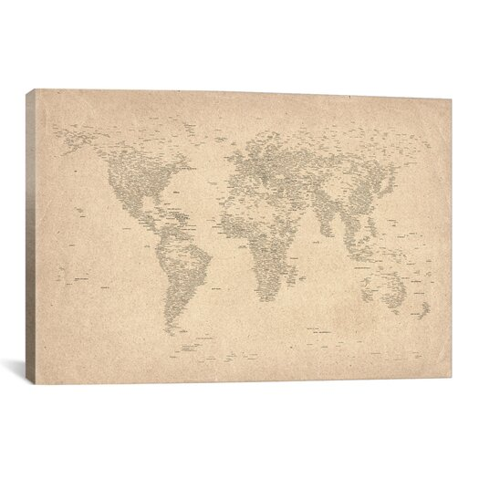 iCanvas 'World Map of Cities II' by Michael Tompsett Graphic Art on Canvas
