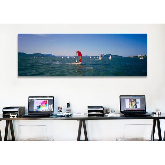 iCanvas Panoramic Sailboats in the Water San Francisco Bay, California Photographic Print on Canvas