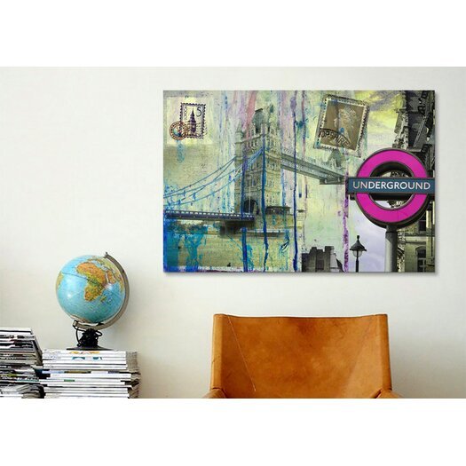 """iCanvas """"London Underground"""" Painting Print on Canvas by Luz Graphics"""