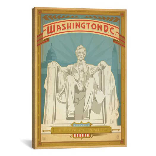 iCanvas 'Lincoln Monument - Washington, D.C.' by Anderson Design Group Vintage Advertisement on Canvas